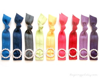 Pick 1 Rhinestone Hair Tie, Customize, Personalize, 48 Solid Colors to Choose From,