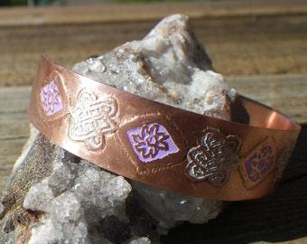 Purple and White Copper Celtic Cuff Bracelet