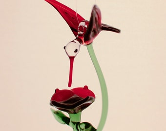 Large Hand Blown Glass Hummingbird with Flower