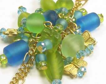 Butterfly Cluster Bracelet Blue Green Glass Beads, Light Blue Crystals, Gold Chain with clasp handmade with free shipping