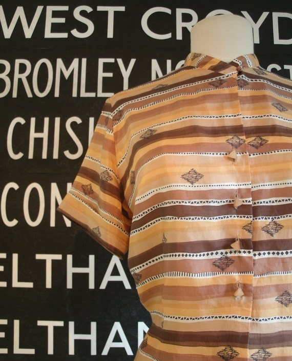 1950's Silk Blouse Abstract Stripes Large