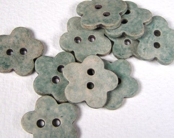 Blue Green Flower Button Antiqued Handmade Stoneware - Set of 5 Buttons