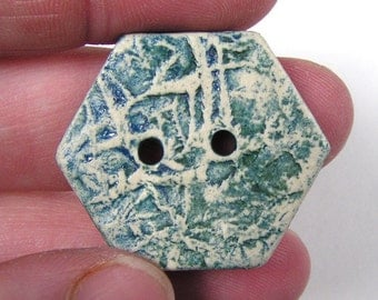 Blue Ceramic Button - Hexagon Buttons - Blue and Green Mossy Print - Set of 5