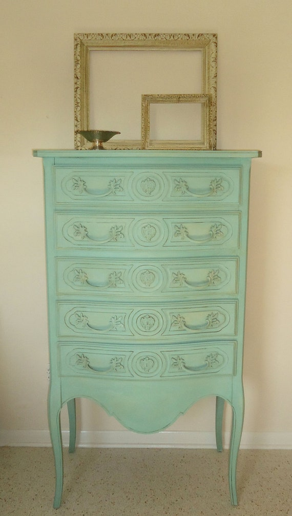 Tall French Blue Aqua Shabby Chic Chalk Paint Dresser