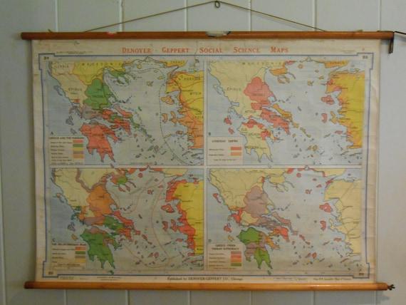 Original Vintage School Chart Depicting Ages of Greek History