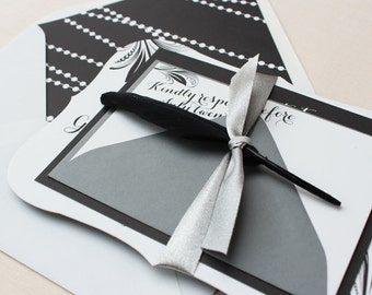 Bracket Wedding Invitation, Die-cut Wedding Invitation, Elegant, Black and White, Calligraphy Wedding Invitation - Pearl and Feather Sample