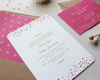 Wedding Invitation Suite, Modern Wedding Invitations, Pink and Gold, Urban Chic, Sweet Wedding Invitation Suite - Confetti Dots Deposit