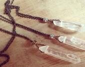 Raw Quartz Necklace with Brass Bead