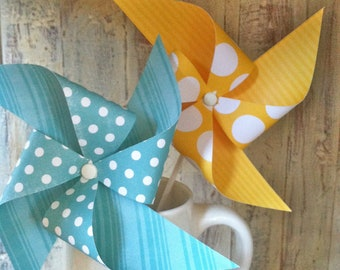 Yellow and Aqua Pinwheels - Set of 8 Pinwheels