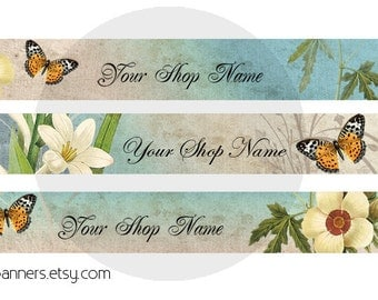 Butterfly Etsy Shop Banner and Avatar