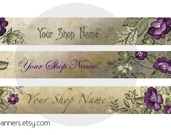 ETSY SHOP BANNERS Purple Flowers Etsy Shop Banner and Avatar
