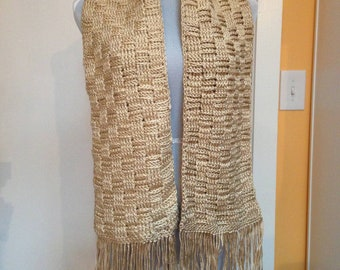 Gold Basket-weave Scarf with Fringe