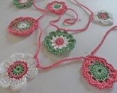 Pink and Green Flower Bunting Garland for Spring