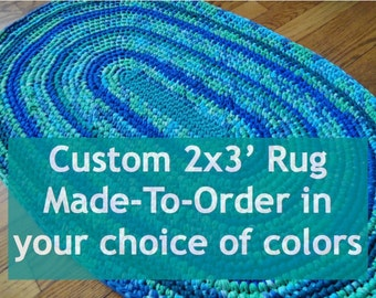 Custom Rag Rug - 2x3' Oval Made-to-Order with Recycled Materials