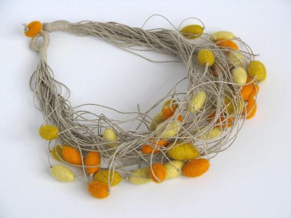 Felt Unique Linen String Necklace with Honey Vanilla and Mustard  Felted Beads Handmade Merinowool