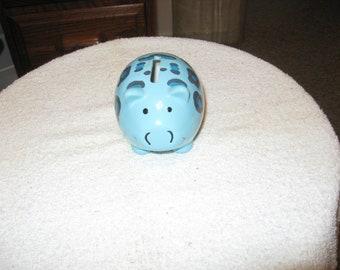Collectible Ceramic Blue Piggy Bank