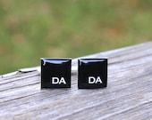 Custom Wedding Cufflinks. Personalized Bride Groom Monogram Initial Square Groom Wedding Party Groomsmen Husband Resin