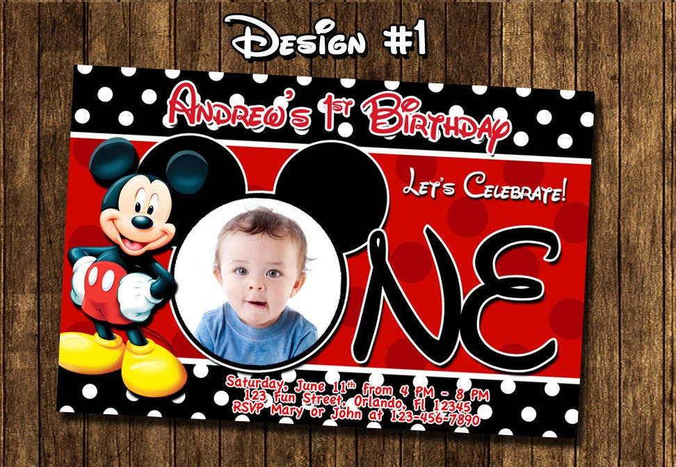 Mickey Mouse Baby First Birthday Party Photo Invitations