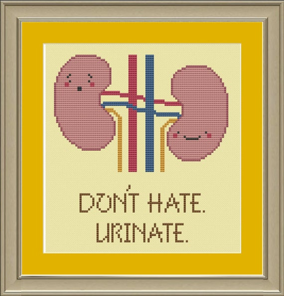 Don't hate, urinate: funny human kidney cross-stitch pattern