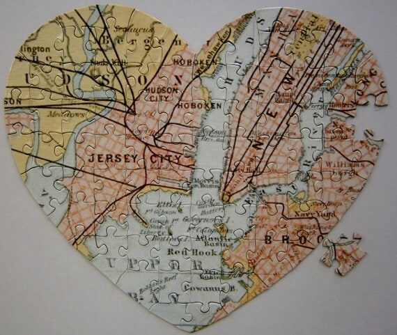 Map Puzzle for a unique engagement and great travel lover gift.  Get Engaged with this Map puzzle.  Say Marry Me with a map. Heart puzzle.