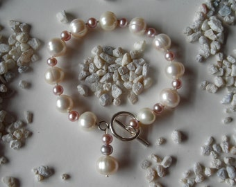 Big, White Pearl Bracelet with Pink Fresh Water Pearls and Silver, The Lace II