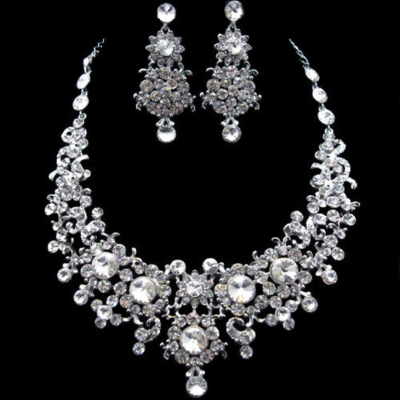 Bridal Jewelry Set, Statement Necklace Pierced Dangle Earring Set ...