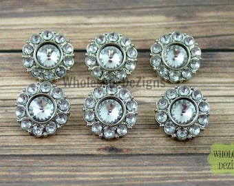 Rhinestone Buttons Clear 18mm Acrylic - Set of 6
