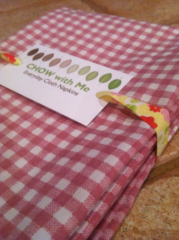 Eco-Friendly Large Cloth Napkins - Set of 4, Red Chex, Set of 4- 18 inch, Vintage Fabric, by CHOW with ME