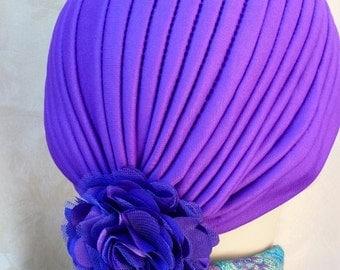 Chemo Purple Turban Hat with Detachable Flower Pin, Ladies Purple Turban, Stylish Chemo Turban