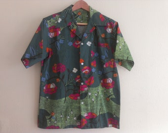 70s vintage men's large Hawaiian floral green