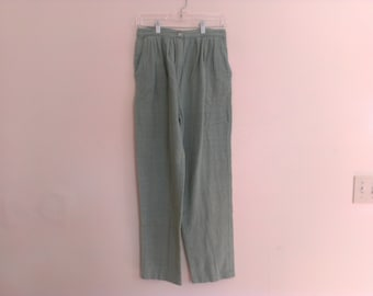 80s vintage women's large green tapered pleated pants