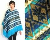 Aqua Turquoise Blue and Metallic Gold Sparkly Geometric Ethnic South American Aztec Guatemalan Poncho Jacket
