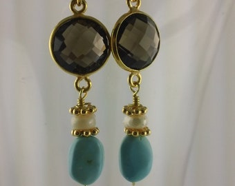 Elegant Smoky Quartz and Turquoise Earrings