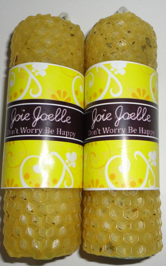 Mini Don't Worry Be Happy Blue & Yellow Spell Candle Set All Naturally Dressed with Herbs and  Oil  Comes With Happiness oil
