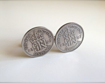 1947 Sixpence Coin Cufflinks, British 1947 Lucky Sixpence, 71st Birthday Gift