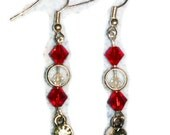 Red and White Swarovski Crystal earrings