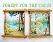 forest for the trees - vintage set of paint by numbers with unique wood frames, tree, nature, camping, painting, retro, autumn,
