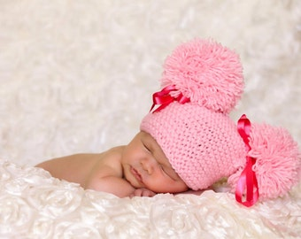 Double Fluff Baby Hats-Double POMPOM Newborn Hat -Newborn Baby  Beanie-Newborn baby hat- Knit hat-Baby girl  hat