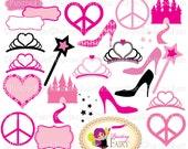 Princess Accessories Clipart Tiara Castle Peace Love Heart Glass Slipper Magic wand Fancy label Clip art Pink Black Digital images pf00035-4