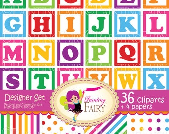 Digital clipart Alphabet Numbers blocks Baby blocks Rainbow striped papers Fun colorful paper pack DIY Personal & Commercial Use pf00039-1