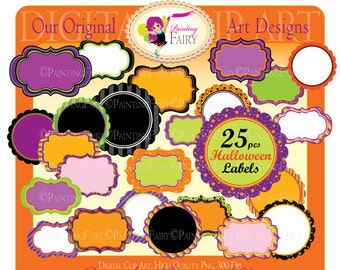 25 Digital Labels Halloween Clipart Embellishments Scalloped Clip Art Frames Scrapbooking  DIY images Personal & Commercial Use pf00044-13