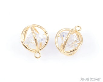 CG016-P (2pcs) / Cubic In Ball Pendent in Gold - Large / 12mm x 15mm
