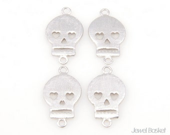 Textured Flat Skull Connector (4pcs) / BMS053-C / 7mm x 13mm