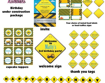 DIY Printable Under Construction Birthday Package