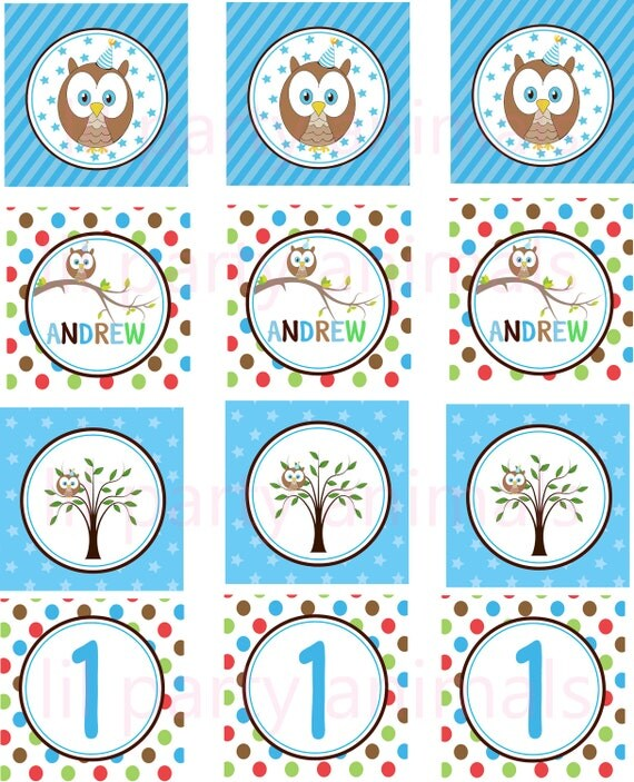 Items similar to DIY Printable Owl Cupcake Toppers on Etsy