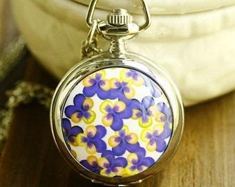 1pcs 25mmx25mm Flower pocket watch charms pendant SZ01000