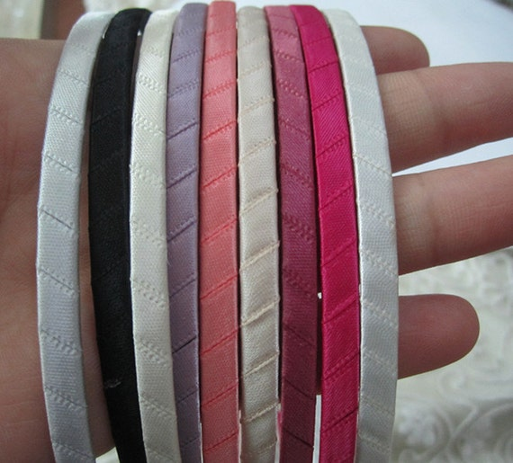 50 Mixed color (9 color) Satin Covered  Metal Headband 5mm Wide