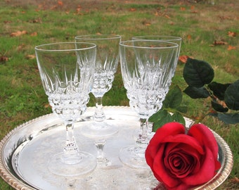 Vintage Crystal Wine Glasses Stems Stemware Cordial Glasses Barware  - Set of 4- Wedding Housewarming Gift