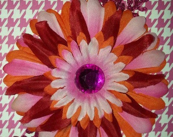 Orange, pink and red hair flower w/ glitter accents