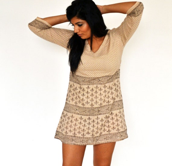 The Maelu Tunic Dress in Earthy Kohl - Hand Block Printed, Natural Vegetable Dyes, Cotton